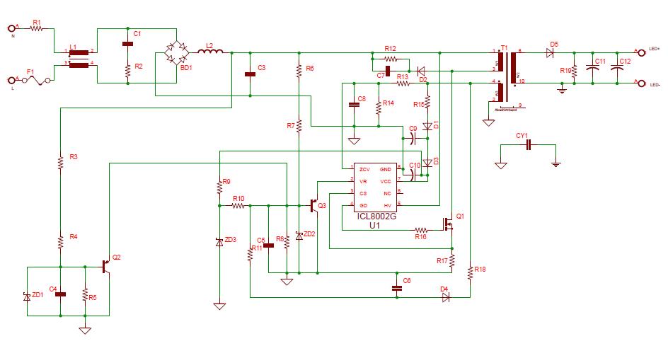 医疗保健电路图 家用理疗电路图 ->基于icl8002g的深度调光led驱动
