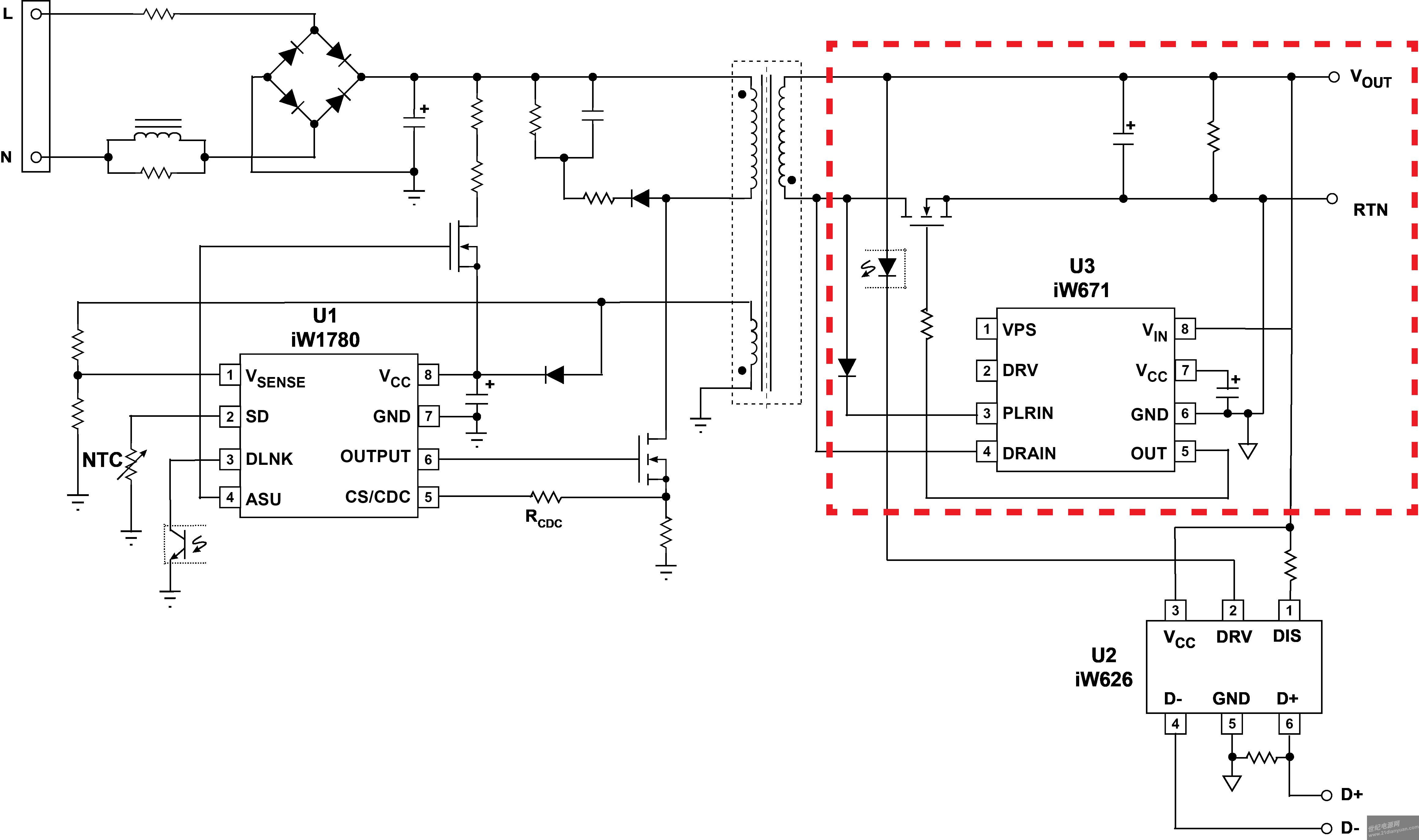 图5. 具有二次侧同步整流的qualcomm® quick charge™ 2.